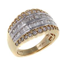 1ctw White Diamond 2-Tone 10K Scalloped Band Ring