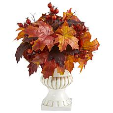 20 in. Autumn Maple Leaf and Berries Artificial Plant in White Urn