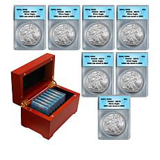 "2001-2007 MS70 ""Struck Previous Year"" Set of 7 Silver Eagle Dollars"