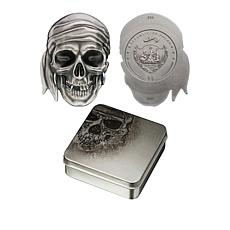 2017 LE 1750 Pirate Skull Republic of Palau 99.9% Silver $5 Coin