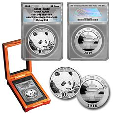 2018 MS70 First Day of Issue Limited Edition China Silver Panda Coin
