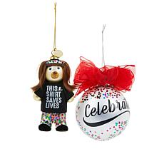 2019 HSN Cares Marlo Thomas Hand-Painted 2-pack Ornament Set