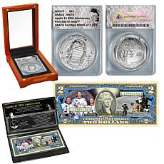 2019 MS70 First Day of Issue Limited Apollo 11 Silver Dollar & $2 Bill