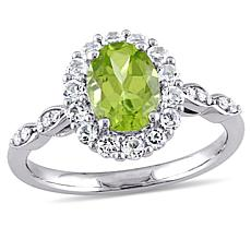 2.01ctw Peridot, White Topaz and Diamond 14K White Gold Ring