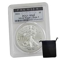 2021 MS69 PCGS Premier Label Silver Eagle Type 1 Dollar Coin