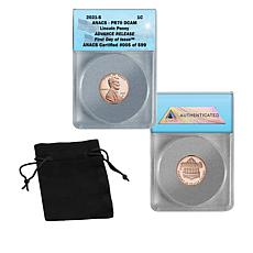 2021 PF70 ANACS FDOI LE 599 Advance Release Silver Proof Lincoln Cent