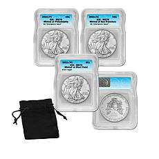 2021-W MS70 ICG Regular & P&S Emergency Issue Silver Eagle Set of 3