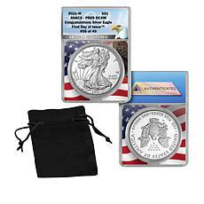 2021-W PR69 ANACS FDOI LE 49 Congratulations Set Silver Eagle Coin