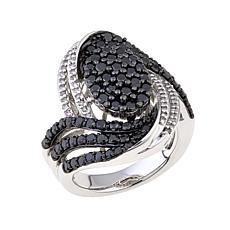 "2.04ctw Black and White Diamond Oval ""Swirl"" Ring"