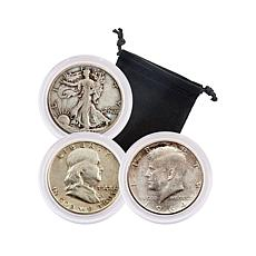 20th Century 90% Silver Circulated Half-Dollar Set of 3 Coins