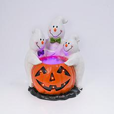 "22.24"" Halloween Smoking Jack-O-Lantern with Ghostly Trio"