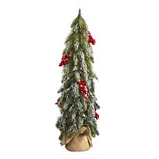 24 in. Flocked Christmas Artificial Tree with Berries and Pine Cones