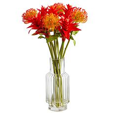 24 in. Pincushion and Star Bromeliad Artificial Arrangement in Glas...