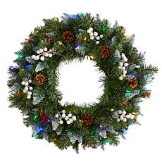 24 in. Snow Tipped Artificial Christmas Wreath with 50 Multicolored...