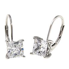 2.50ctw Absolute™ Sterling Silver Princess-Cut Leverback Earrings