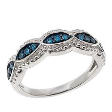 Clearance 25ctw Blue Diamond Sterling Silver Braided Band Ring