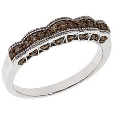 .25ctw Colored Diamond Scallop Edge Sterling Silver Band Ring