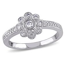.25ctw Diamond 14K White Gold Frame Cluster Ring