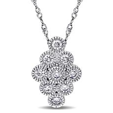 ".27ctw Diamond 14K White Gold Elongated Cluster Pendant with 17"" Chain"