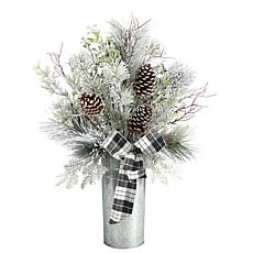 """28"""" Frosted Greenery and Pinecone in Decorative Tin"""