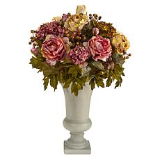 28 in. Peony Artificial Arrangement in Sand Colored Urn