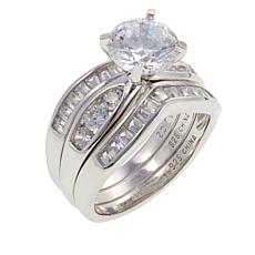 2.98ctw Absolute™  Round with Baguette 3pc Ring Set