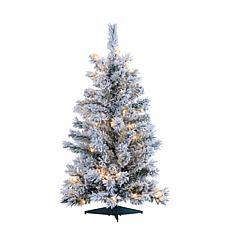 3' Flocked Colorado Spruce Tree - 50 Clear Lights