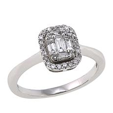 .35ctw White Diamond Baguette and Round-Cut 14K White Gold Ring