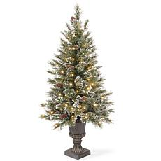 4 ft. Glittery Bristle Pine Entrance Tree with Clear Lights