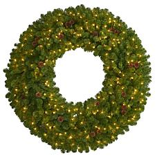 5 ft. Giant Artificial Christmas Wreath with 280 Warm White Lights ...