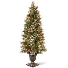 5' Wintry Pine Entrance Tree w/Lights