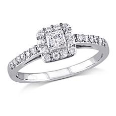 .50ctw White Diamond 10K Princess Halo Ring