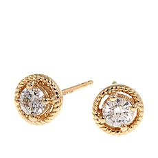 .50ctw White Diamond 10K Rope-Frame Stud Earrings