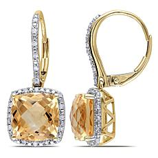 5.98ctw Citrine and Diamond 10K Halo Leverback Earrings