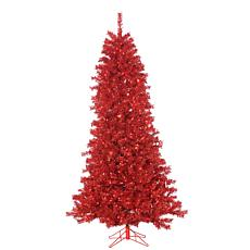 7-1/2' Red Curly Tinsel Tree - 550 Red Lights