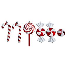"""7"""" Assorted Candy Cane Deluxe Shatterproof Ornament - Set of 6"""
