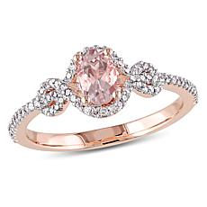 .70ctw Morganite and Diamond 10K Rose Gold Halo Ring