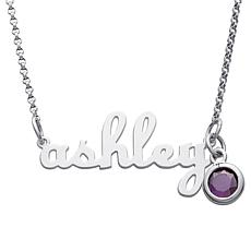 ".79ctw CZ Sterling Silver Birthstone  Script Name 19"" Necklace"