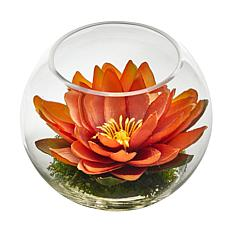 8 in. Lotus Artificial Arrangement in Glass Vase