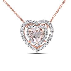 .85ctw Morganite and Diamond Heart Pendant