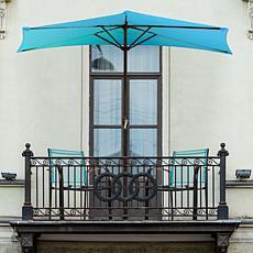 9' Half-Round Patio Umbrella with Easy Crank - Brilliant Blue