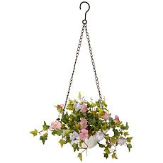 "9"" Morning Glory Plant Artificial Hanging Basket"