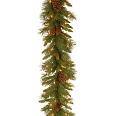 9' Pine Cone Garland w/Lights
