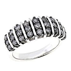 .91ctw Colored Diamond 3-Row Sterling Silver Band Ring