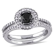 .99ctw Black.White Diamond Heart 14K White Gold 2pc Set