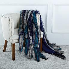A by Adrienne Landau Faux Fur Throw w/Tails-Blue Coyote