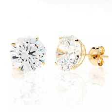 A&M 14K Yellow Gold 8mm Square Cubic Zirconia Stud Earrings