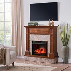Abril Stone Media Fireplace - Whiskey Maple with Sandstone