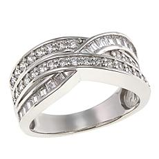 Absolute™ 1.17ctw CZ Round and Baguette Crossover Ring