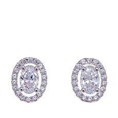 Absolute™ 1.18ctw CZ Oval and Pavé Stud Earrings